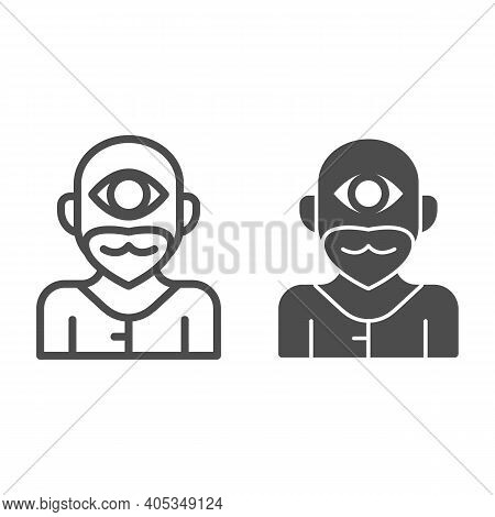 Cyclops Monster Line And Solid Icon, Fairytale Concept, Mythical Creature With One Eye Sign On White