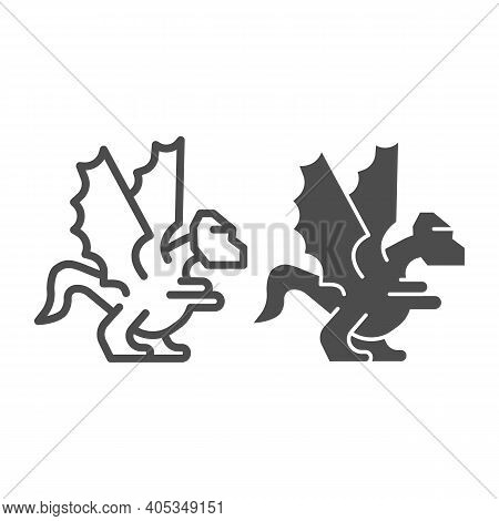 Dragon Line And Solid Icon, Fairytale Concept, Mystery Mythical Creature Sign On White Background, D