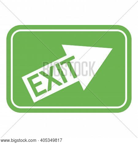 Green Emergency Exit Sign. Arrow Pointing Right Up On A Green Background. Exit Inscription On The Ar