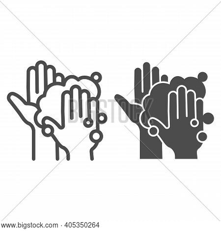 Hands In Soapy Foam Line And Solid Icon, Corona Downturn Concept, Hand Wash Sign On White Background