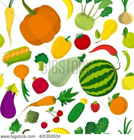 Seamless Food Background With Fruit, Vegetables, Berries