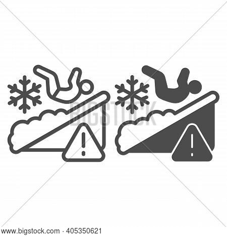 Man Falls On Ice Line And Solid Icon, Winter Season Concept, Slippery Ice Sign On White Background,