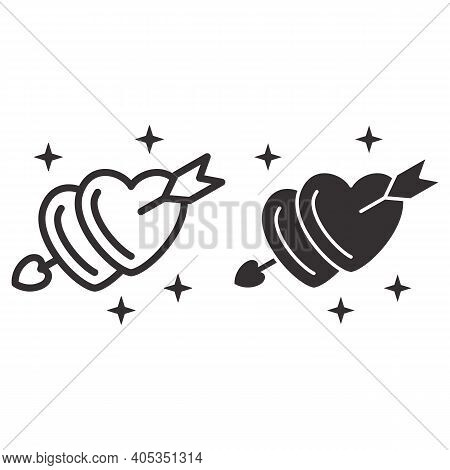 Arrow Of Love Pierced Two Hearts Line And Solid Icon, Valentines Day Concept, Symbol Of Love And Pas