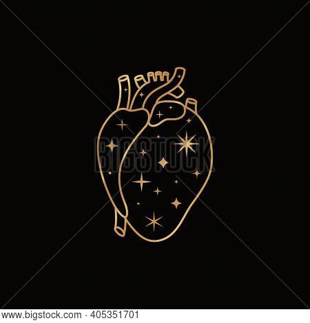 Mystic Golden Heart In A Trendy Boho Liner Style. Vector Silhouette Anatomical Heart With Stars