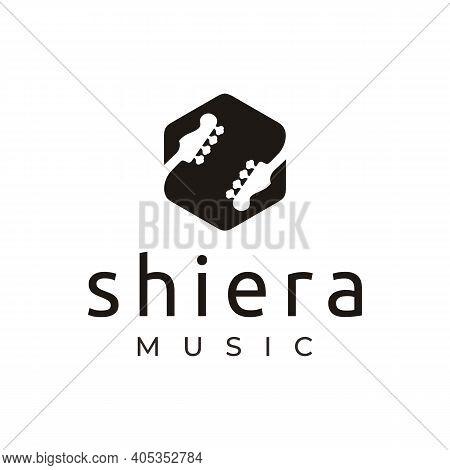 Letter Initial S Symbol Hexagon With Guitar Headstock Logo Design Vector