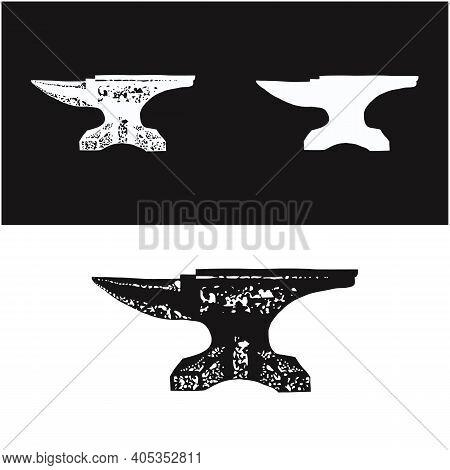 Vintage Rustic Blacksmith Iron Anvil Foundry Logo Design