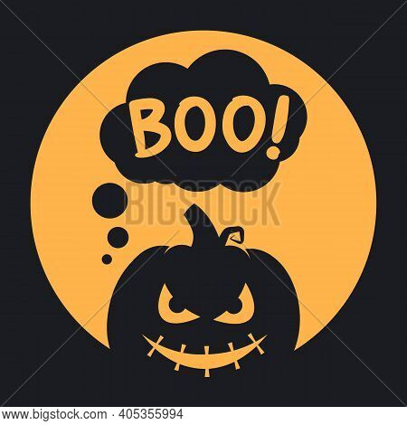 Boo Halloween Design With Scary Pumpkin On A Full Moon Background. Simple Vector Illustration In Fla
