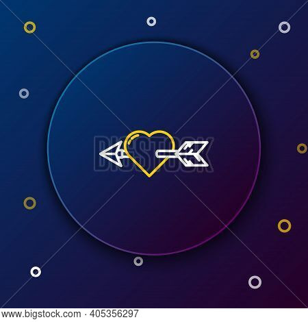 Line Amour Symbol With Heart And Arrow Icon Isolated On Blue Background. Love Sign. Valentines Symbo