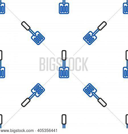 Line Spatula Icon Isolated Seamless Pattern On White Background. Kitchen Spatula Icon. Bbq Spatula S