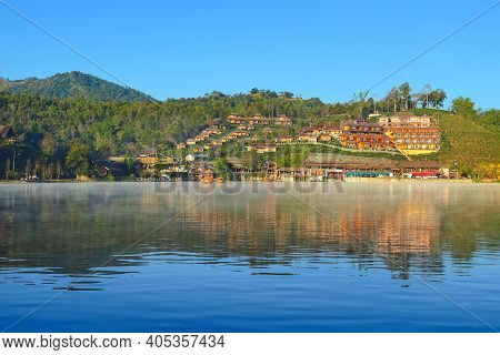 Beautiful Village In Nature Baan Rak Thai, Mae Hong Son Province, Thailand. There Is The Most Famous