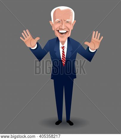 Asheville Nc, January 28, 2021. Caricature Of Joe Biden, President Of The United States, Speaking An