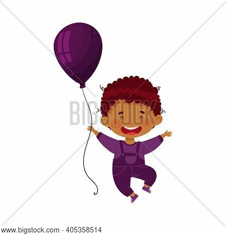 Smiling Boy In Plum-colour Clothing Holding Plum Toy Balloon Vector Illustration