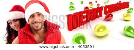 Couple Wearing Christmas Hat With Balloons