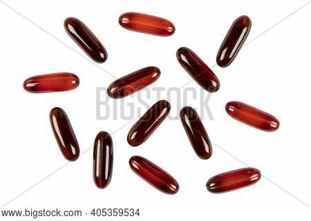 Medicine Pills And Drugs Isolated On White Background. Assorted Pills In Medicine. Pharmaceutical Me