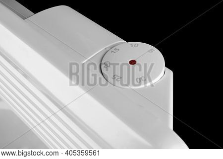 Electric Heater Battery Isolated On Black Background. Radiator. Home Electric Heater Convector Isola