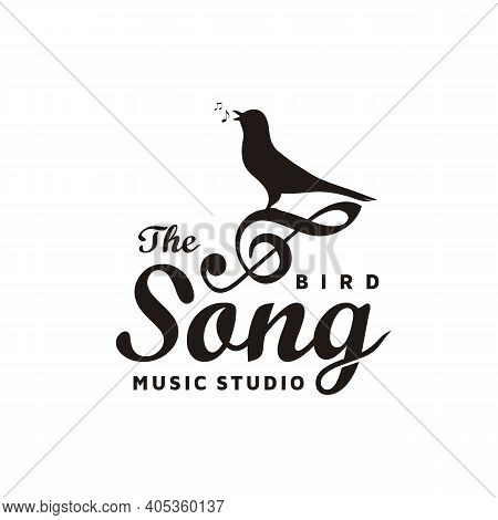 Vintage Singing Bird With Music Notes, Beautiful Melody With Music Notes For Song Vocal Logo Design