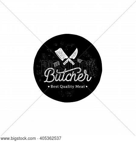 Vintage Retro Rustic Grunge Crossed Cleavers For Butcher Shop Label Logo Design