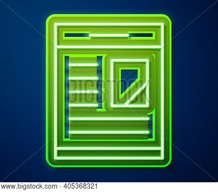 Glowing Neon Line Newspaper Advertisement Displaying Obituaries Icon Isolated On Blue Background. Ve