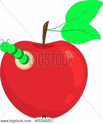 Red Apple With A Caterpillar. Vector Caterpillar Eats An Apple. Apple With A Worm.