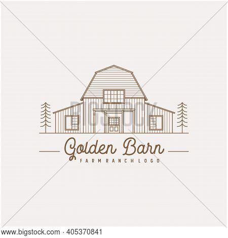 Vintage Retro Golden Wood Barn Farm Minimalist Logo Design With Line Art Style