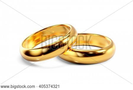 A pair of golden wedding rings. 3D render isolated on white background