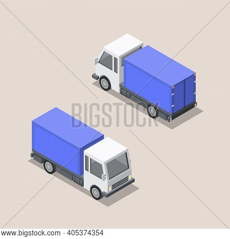 Vector Isometric Illustration Of Blue Cargo Car. Front And Back Sides Of Truck. Cargo Van Delivery.