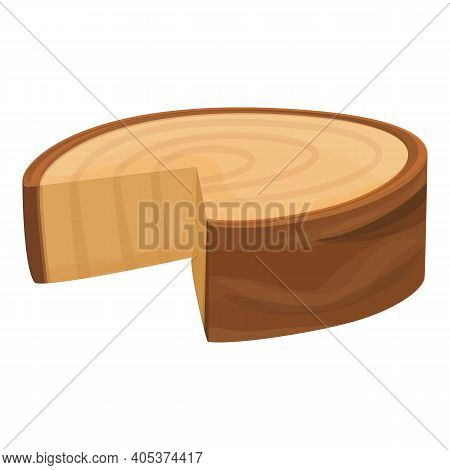 Cutted Half Tree Trunk Icon. Cartoon Of Cutted Half Tree Trunk Vector Icon For Web Design Isolated O