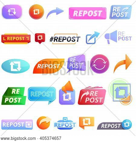 Repost Icons Set. Cartoon Set Of Repost Vector Icons For Web Design