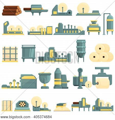 Paper Production Icons Set. Cartoon Set Of Paper Production Vector Icons For Web Design