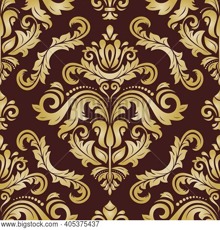 Classic Seamless Pattern. Damask Orient Ornament. Classic Vintage Brown And Golden Background. Orien