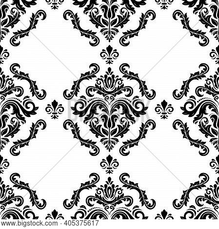 Classic Seamless Pattern. Damask Orient Ornament. Classic Vintage Black And White Background. Orient