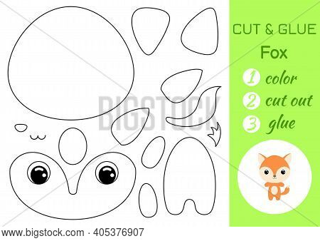 Coloring Book Cut And Glue Baby Fox. Educational Paper Game For Preschool Children. Cut And Paste Wo
