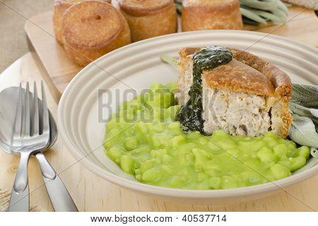 Melton Mowbray Pork Pie & Mushy Peas. poster