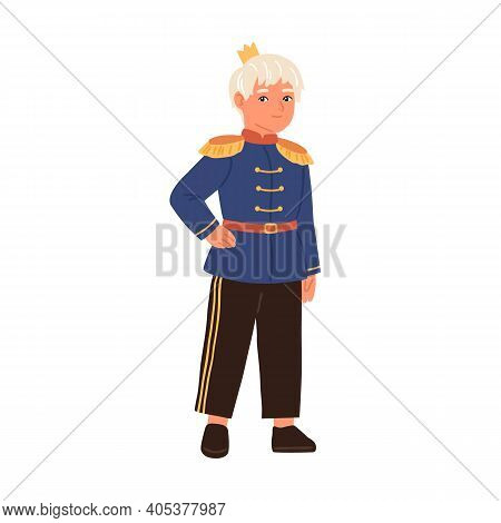 Cute Fairytale Prince With Golden Crown Isolated On White Background. Little Boy Dressed In Military