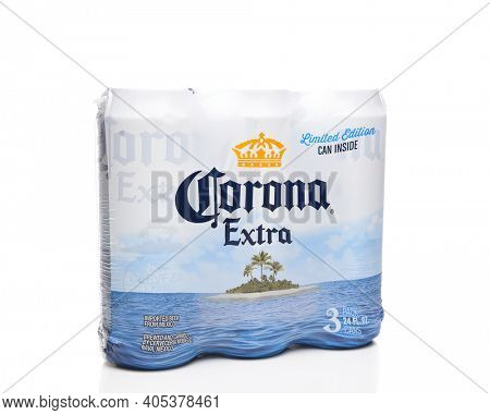 IRVINE, CALIFORNIA - MARCH 21, 2018: Three pack of 24 ounce Corona Extra Cans. Corona Extra is a pale lager produced by Cerveceria Modelo in Mexico for domestic distribution and export.
