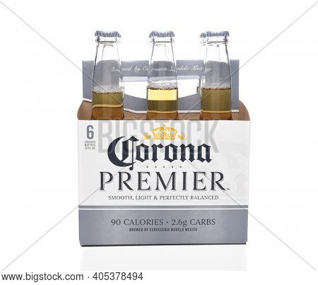 IRVINE, CALIFORNIA - MARCH 21, 2018: 6 pack of Corona Premier side view. Corona Premier is premium light beer with 2.6 grams of carbs and 90 calories.