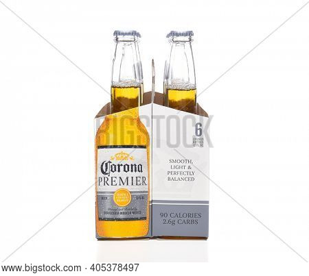 IRVINE, CALIFORNIA - MARCH 21, 2018: 6 pack of Corona Premier end view. Corona Premier is premium light beer with 2.6 grams of carbs and 90 calories.