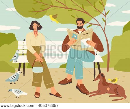 Couple Resting On Bench In Quiet Park. Man Reading Newspaper And Looking At Relaxed Woman Sitting In