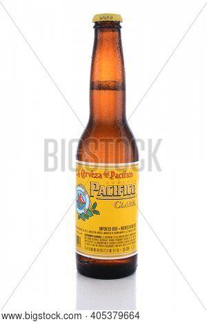 IRVINE, CA - JUNE 14, 2015: Cerveza Pacifico Clara. A single bottle of Cerveza Pacifico Clara, A pilsner style beer first brewed in 1900 by three Germans in Mazatlan.