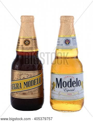 IRVINE, CA - JUNE 14, 2015: A bottle of Modelo Especial and Negra Modelo. Brewed by Grupo Modelo a large brewery in Mexico owned by Belgian-Brazilian company Anheuser-Busch InBev.