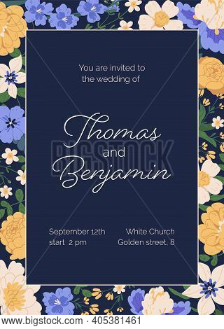 Design Of Wedding Invitation With Gorgeous Flowers. Floral Template Of Vertical Inviting Card With E