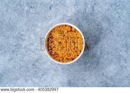 Take Away Turkish Food Bulgur, Bulghur Rice Pilaf Or Pilav In Plastic Bowl. Served With Kebab.
