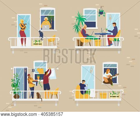 House Exterior With People On Cozy Balconies During Quarantine And Doing Different Activities: Study