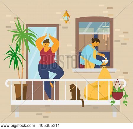 Woman In Tree Pose Doing Yoga On Balcony With Cat And Plants, Man In Apron Poors Soup In Bowl In Kit