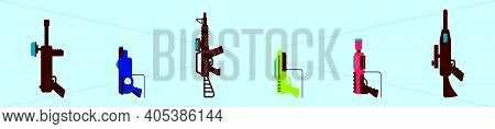Set Of Laser Tag Cartoon Icon Design Template With Various Models. Modern Vector Illustration Isolat