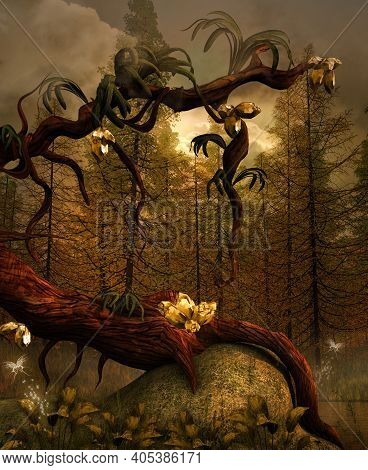 Magic Golden Tree In The Enchanted Nature - 3d Illustration