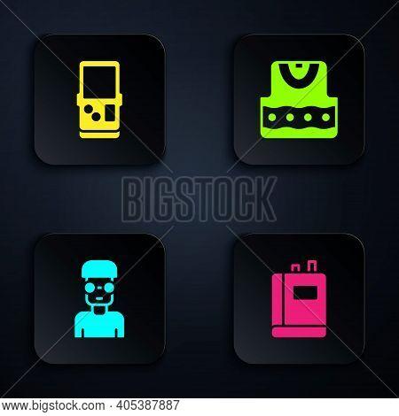 Set Book, Tetris, Nerd Geek And Waistcoat. Black Square Button. Vector