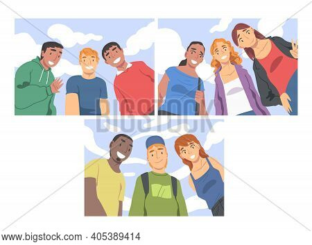 Group Of People Characters Looking At Camera From Above Vector Set