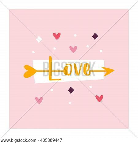 St Valentine's Holiday. Love Clipart. Cupid Arrow With Love Lettering. Relationship, Emotion, Passio