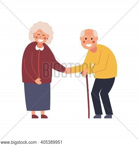 Couple At The Meeting. Elderly People Get To Know Each Other. Say Hello. Vector Illustration
